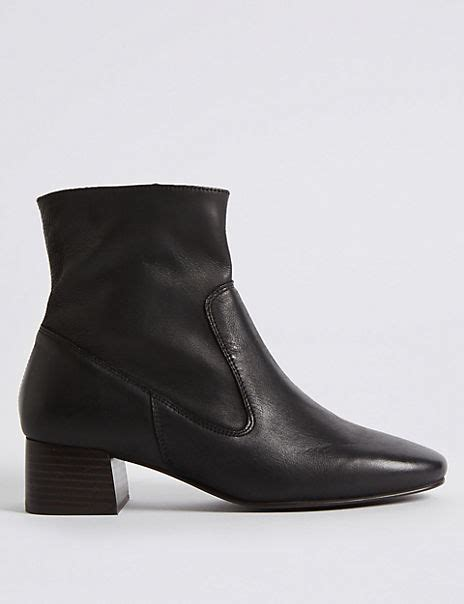 Leather Block Heel Almond Toe Ankle Boots M S