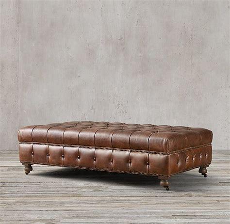 Leather Coffee Ottomans RH