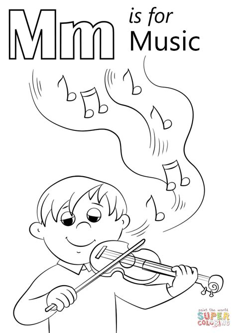 Letter M is for Music coloring page Free Printable