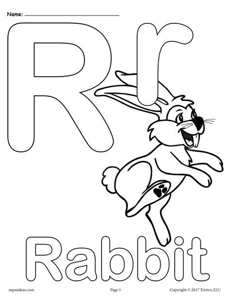 Letter R Coloring Pages Worksheets and Color Posters