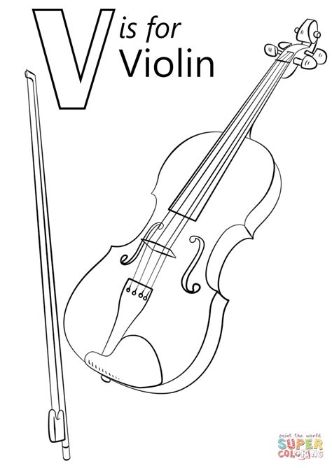 Letter V Violin Coloring Page printable interactive