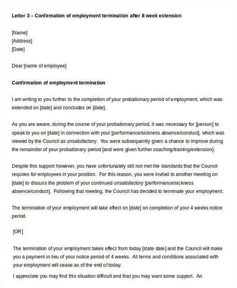 Letter confirming the dismissal of an employee for