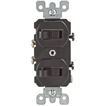 Leviton 107 05224 0SP Combo 2 Single Pole Switch Brown