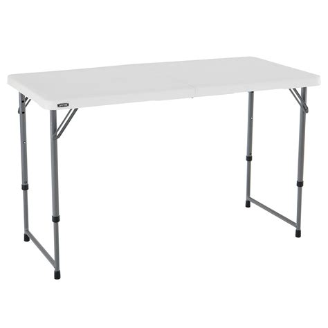 Lifetime 4 Fold In Half Adjustable Table White Granite