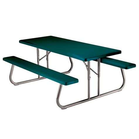Lifetime 57 in x 72 in Green Folding Picnic Table with