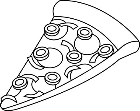 Line Art of a Slice of Pizza Free Clip Art