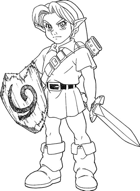 Link from Legend of Zelda coloring page Free Printable