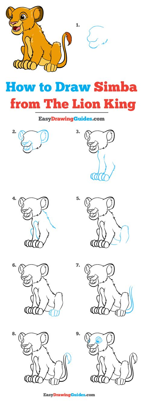 Lion King Easy Drawing Tutorials