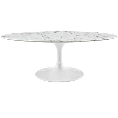 Lippa Oval Faux Marble Coffee Table White Midcentury