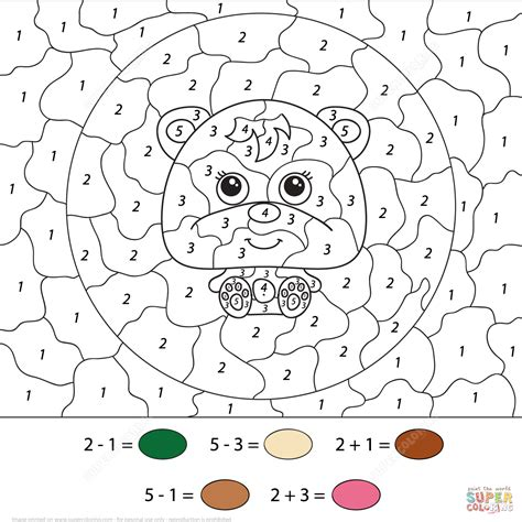 Little Cartoon Bear Color by Number Free Printable