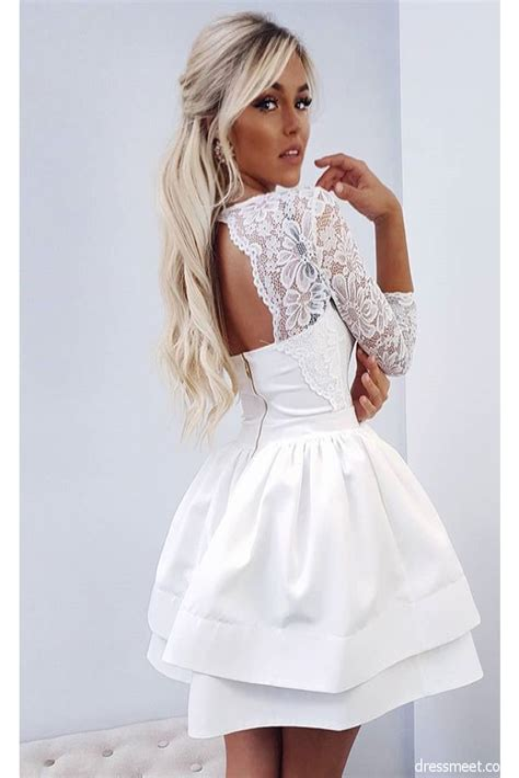Long Sleeve White Short Dress