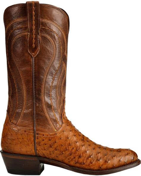 Lucchese Mens Cowboy Boots Tan Full Quill Ostrich The