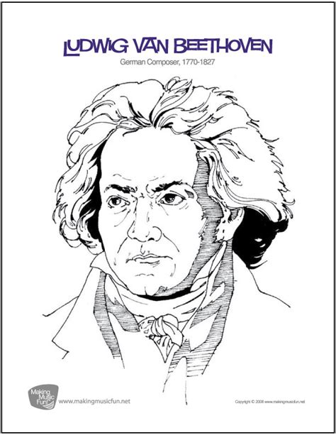 Ludwig van Beethoven Composer Coloring Page Music