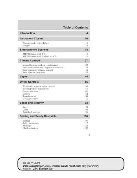 MERCURY MOUNTAINEER 2005 OWNER S MANUAL Pdf Download