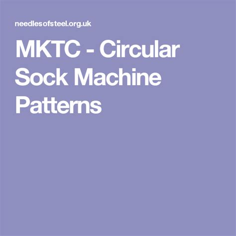 MKTC Circular Sock Machine Patterns