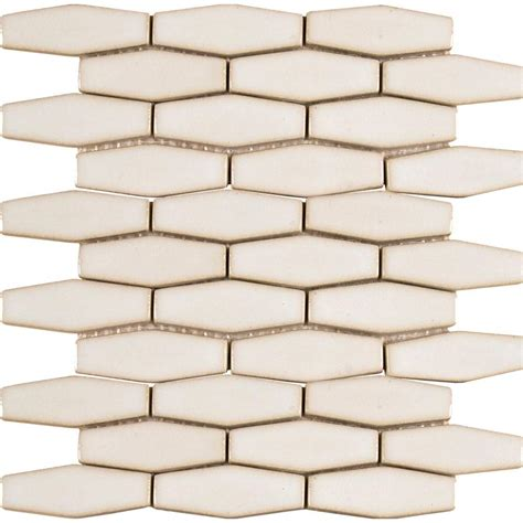 MS International Antique White Elongated Hexagon 12 in x