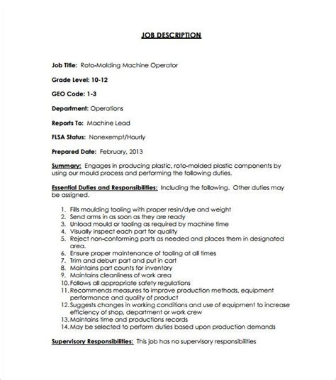 Machine Operator Job Description Duties and Requirements