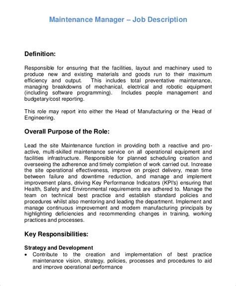 Maintenance Supervisor Job Description Duties and