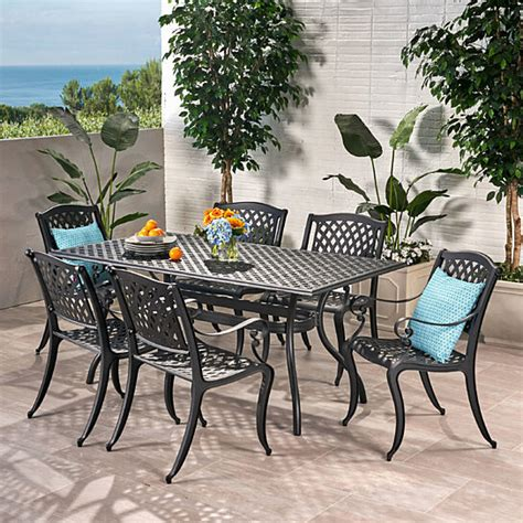 Marietta 7 Piece Cast Aluminum Dining Set Black Sand