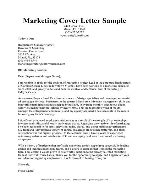 Marketing Manager Cover Letter Sample Monster