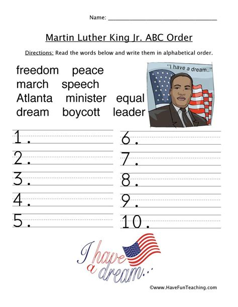 Martin Luther King Jr Day Worksheets Free Printable