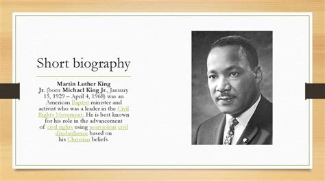 Martin Luther King Mini Biography Biography