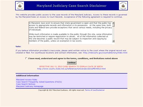 Maryland Judiciary Case Search Disclaimer