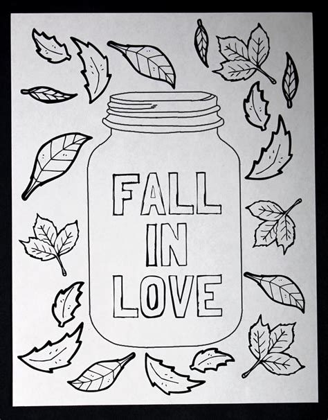 Mason Jar Coloring Page Free Printable The Country