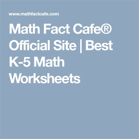 Math Fact Cafe Official Site Best K 5 Math Worksheets