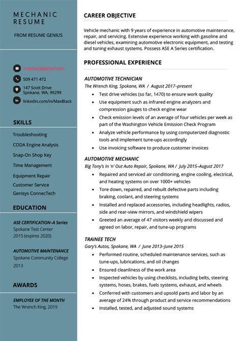auto mechanic technician resume jqbhenneberry2fhco - Resume For Auto Mechanic
