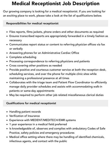 Medical Receptionist Job Description Job Interviews
