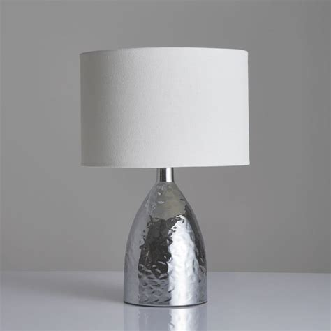 Medina Touch Table Lamp Hammered Chrome Effect Finish