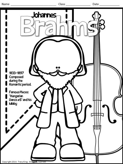 Meet the Composers set of 12 Coloring Sheets Coloring
