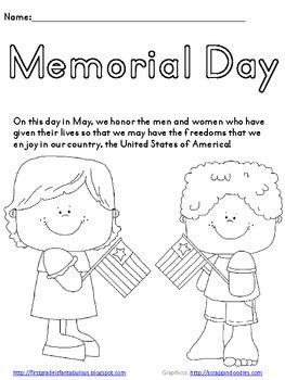 Memorial Day Coloring Page FREEBIE by First Grade is