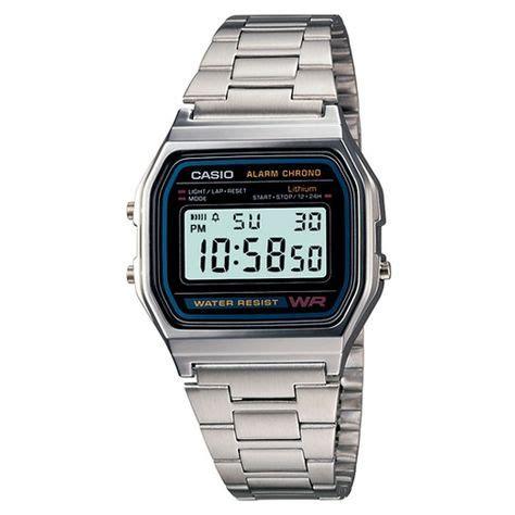 Men s Casio Digital Bracelet Watch Silver A158W 1 Target