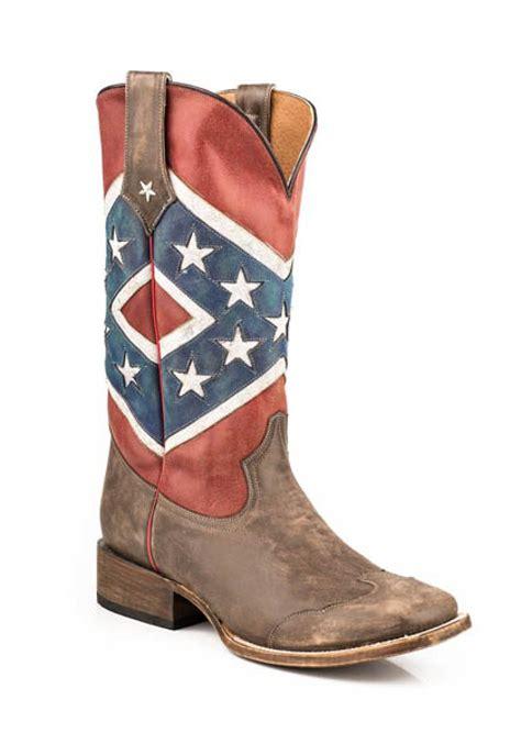 Men s Cowboy Boots Roper Rebel Flag Brown Toe Cap Square