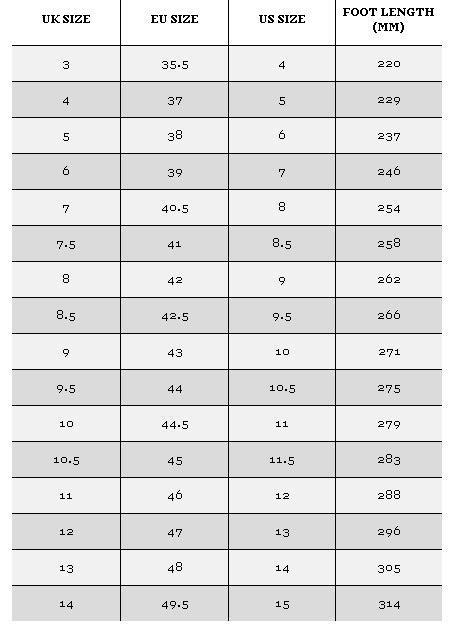 Men s Footwear size guide ASOS