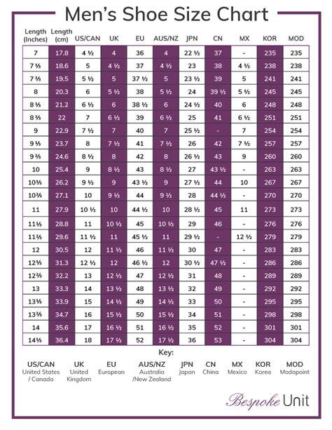 Men s International Shoe Size Conversion Chart