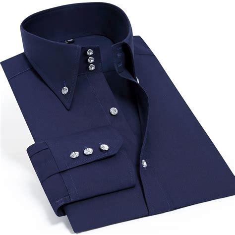 Mens Casual Fashion Shirts High Collar Shirts