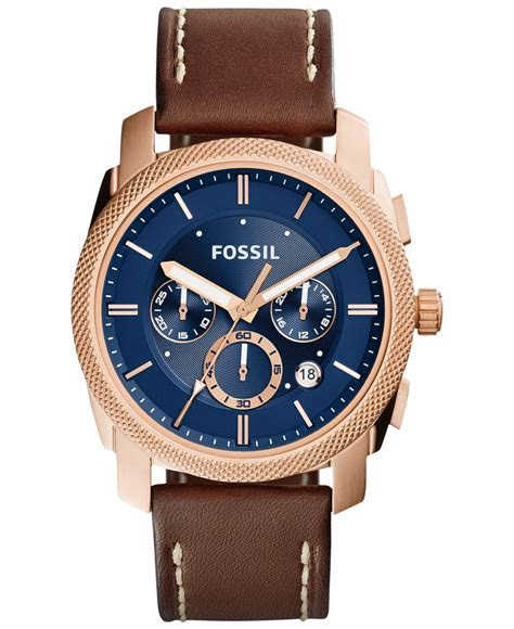 Mens Chronograph Leather Watch Fossil