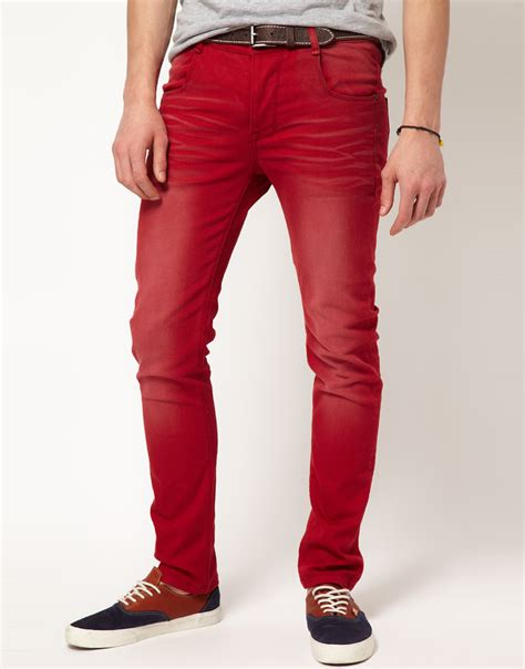 Mens Red Skinny Jeans