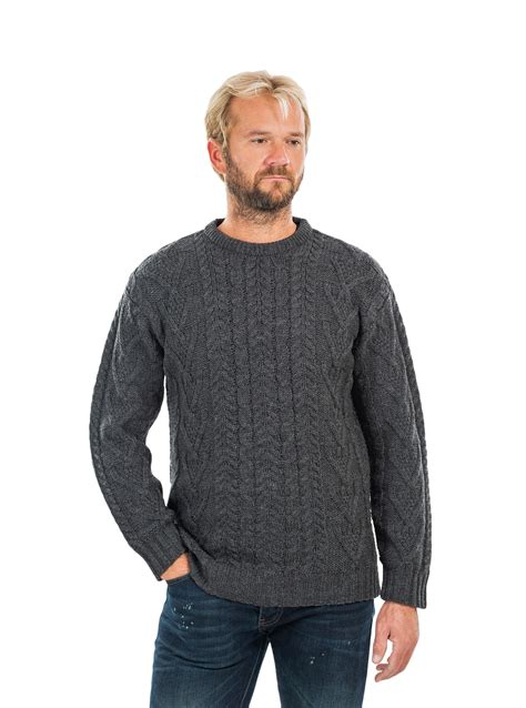 Mens Sweaters Crew Neck Cable Knit Fisherman Sweaters