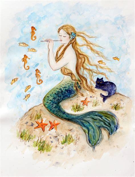 Mermaid drawings Etsy