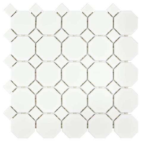 Merola Tile Metro Octagon Matte White with Dot 11 1 2 in