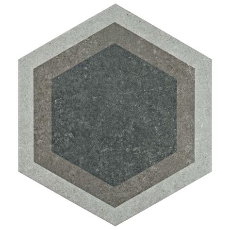 Merola Tile Traffic Hex Grey 8 5 8 in x The Home Depot