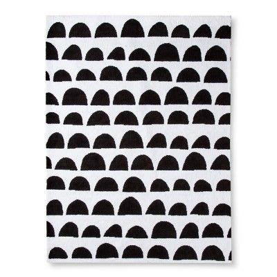 Micro Polyester Rug Scallop Cloud Island Black White