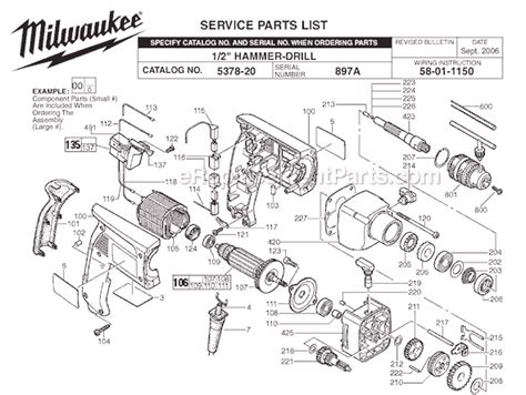 Milwaukee 5378 20 Parts List and Diagram SER 897A