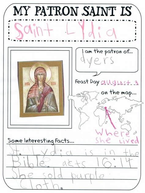 Mini Saint Information Fill in Page for Children
