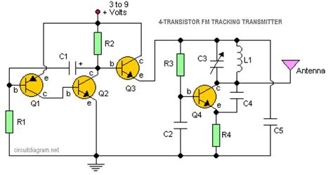 Miniature FM transmitter Electronic Circuits and Diagram