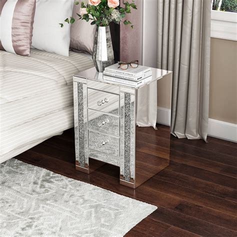Mirrored Bedside Table Houzz